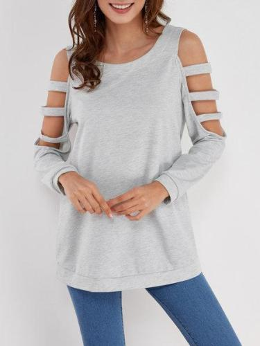 Blue Solid Color Cold Shoulder Long Sleeves T Shirt