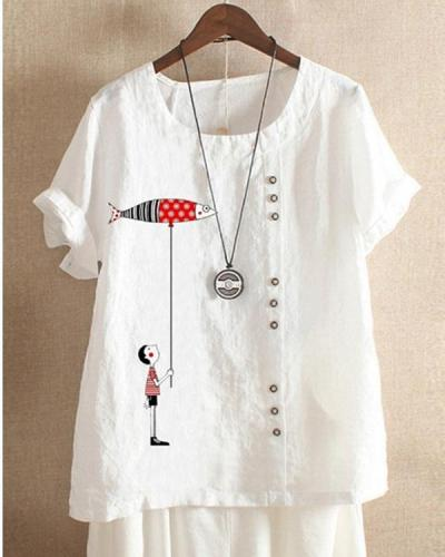 Women Casual Print Cartoon Fish Button Summer T-Shirt