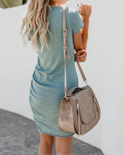 Women Sexy Irregular Long Sleeve Bodycon Mini Dress