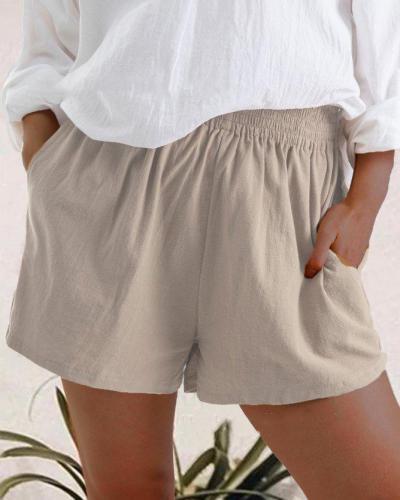 High Waist Linen Blend Shorts