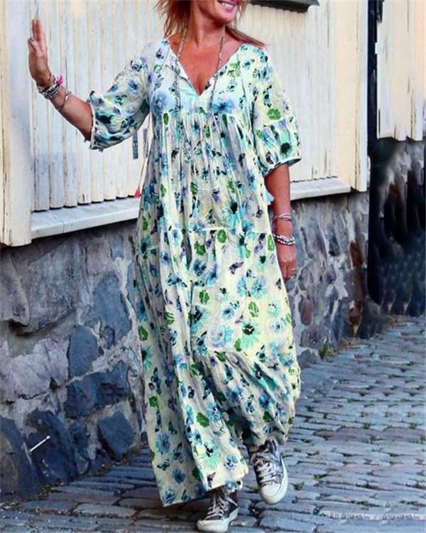 Casual V Neck Printed Summer Holiday Daily Fashion Maxi Dresses