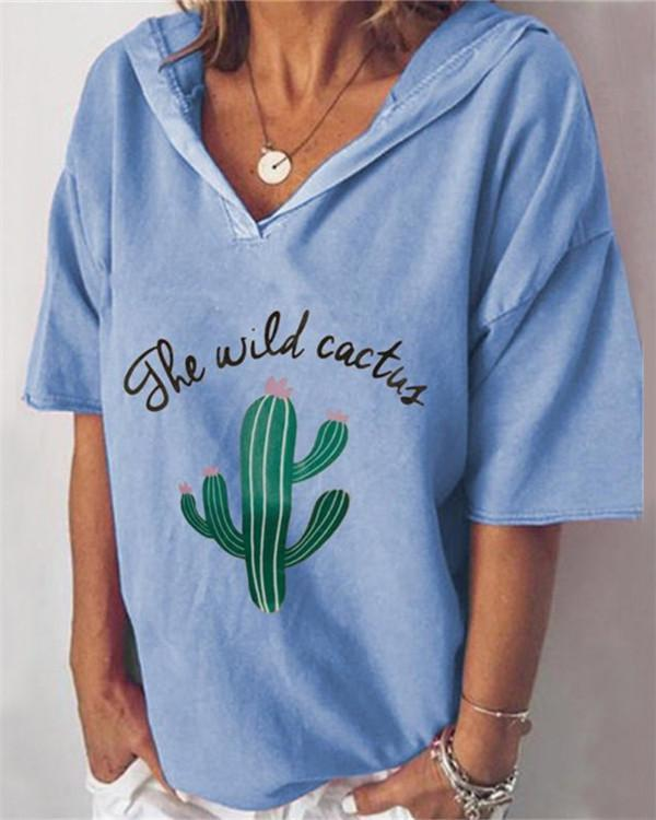 Cactus Printed V Neck Casual Short Sleeve Blouse