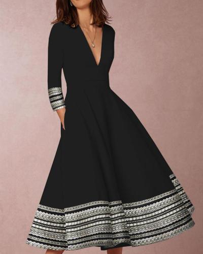 Women V Neck A-Line Evening Party Elegant Plus Size Dress
