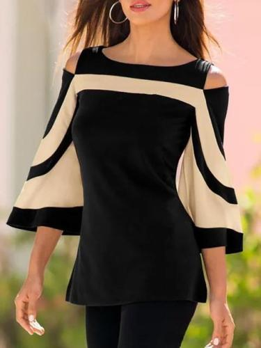 Casual Paneled Spandex Crew Neck Blouse