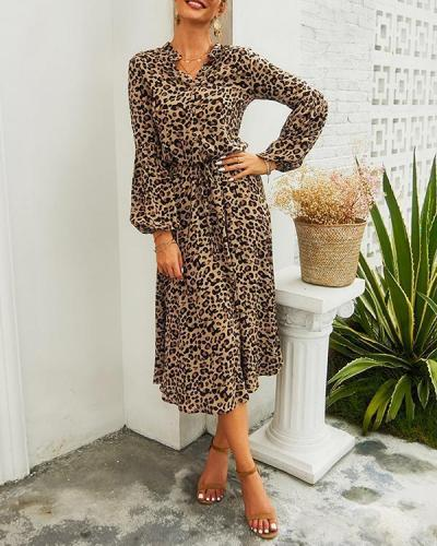 Leopard Print Half Button Blouson Shirt Dress