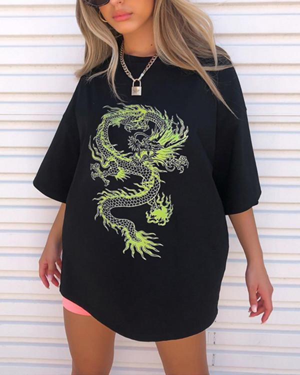 Personalized Dragon Print Loose Mid-length Short Sleeve Top Shirt