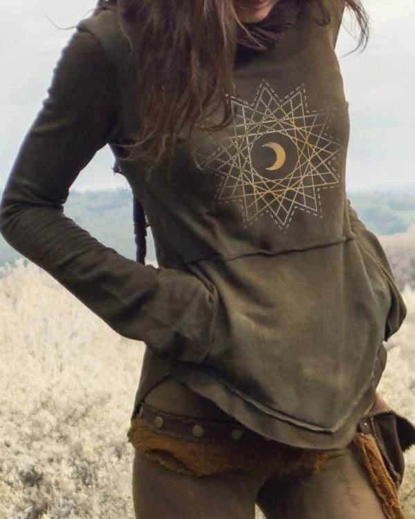 Ladies Vintage Geometric Print Pocket Sweatshirt