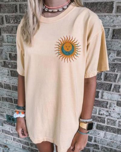 Casual Fashion Sun Print Basic T-Shirts