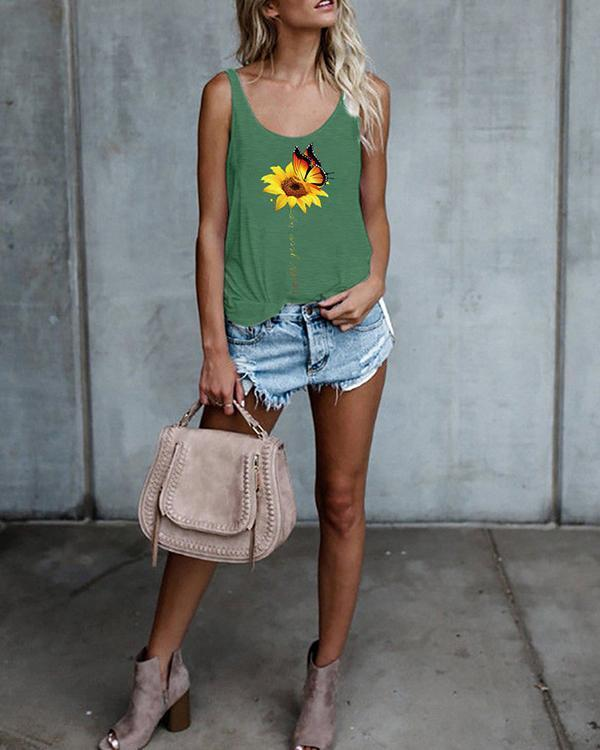 Floral Print Tank Tops Sleeveless Vest T-shirt