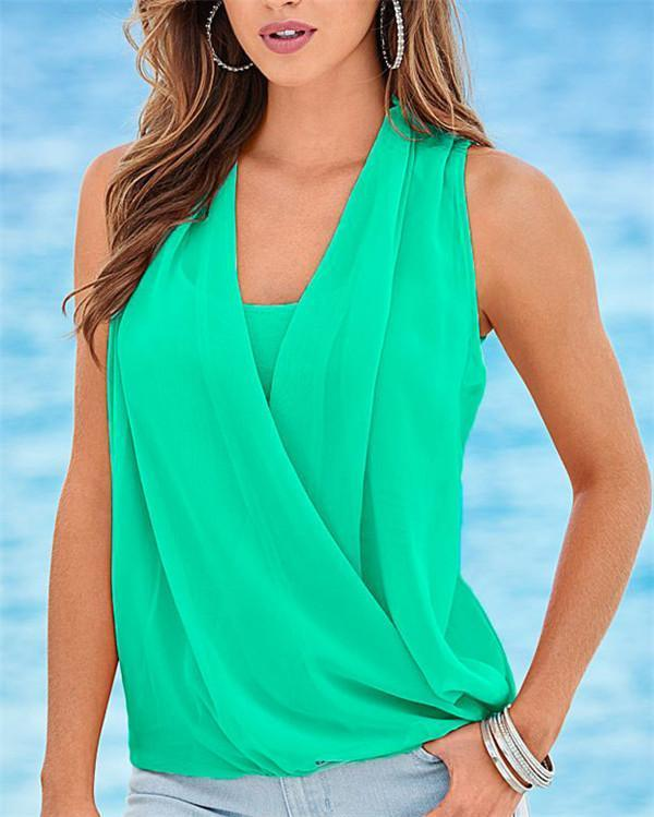 Fashion Sleeveless Stylish Summer Women Shirt Tops