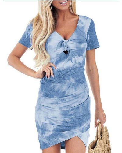 Irregular V-neck Tie-dye Print Dress