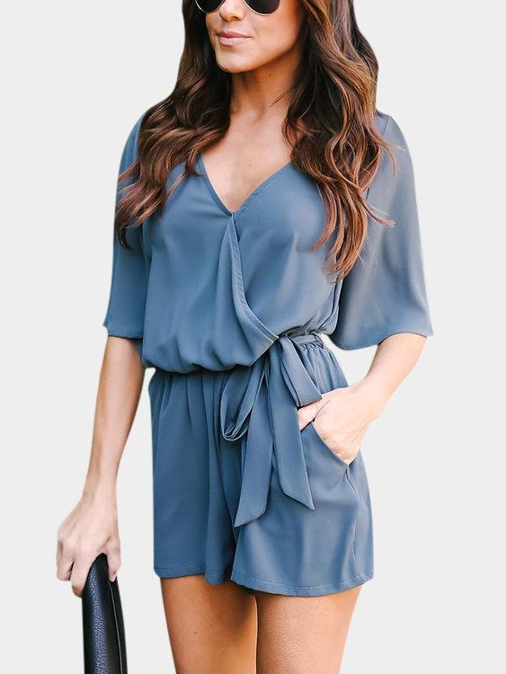 Crossed Front Design V-neck 3/4 Length Flared Sleeves High-waisted Playsuit Jumpsuit