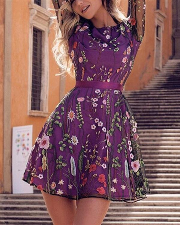 Bohemian Crew Neck Floral Embroider Long Sleeve Mini Dresses