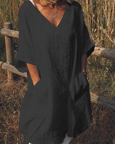 Plus Size Casual V Neck Half Sleeve Pockets Dresses