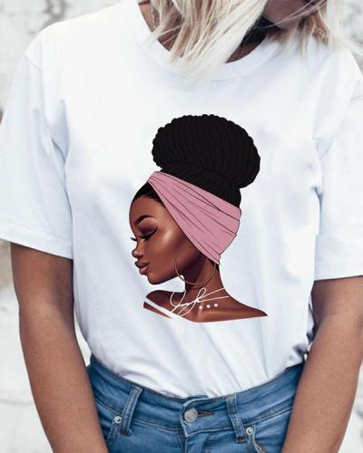 Ladies Summer Casual Short Sleeves Cartoon Printed Tshirt