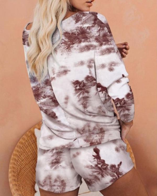 Flame Print Long Sleeve Top & Shorts Set