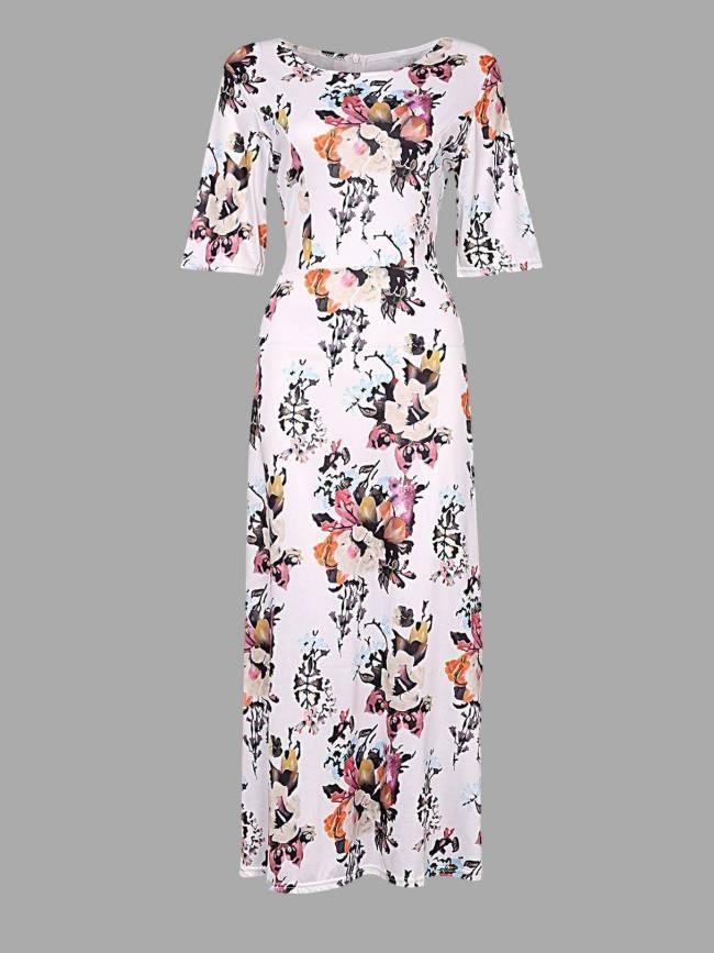 Random Floral Print Half Sleeves Maxi Dresses