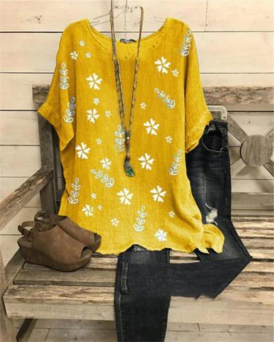 Round Neck Printed Casual Shirts & Blouses