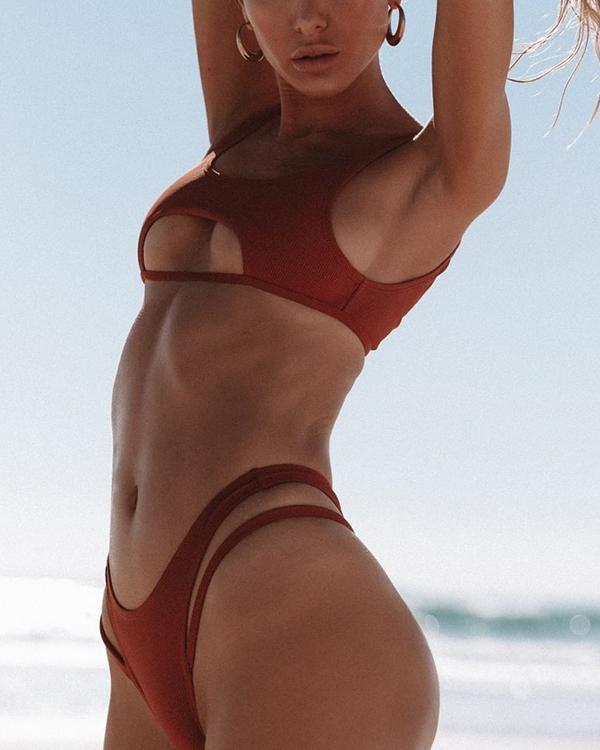 Bikini Sexy Gather Solid Color Hollow Beach Women's Swimsuit Set