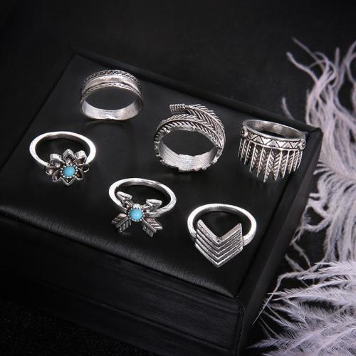 Jewelry-6 Piece Boho Turquoise Rings Sets