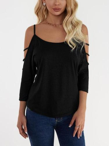 Black Cold Shoulder 3/4 Length Sleeve Tshirts with Strappy Detail
