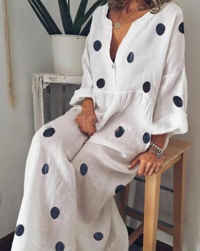Casual V Neck Long Sleeve Pleated Polka Dot Splicing Dress