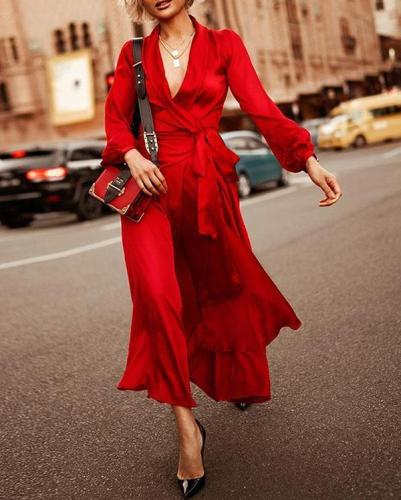 Red Sashes Deep V-neck Lantern Sleeve Flowy Banquet Party Maxi Dress
