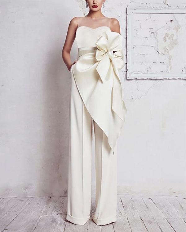 Elegant Round Neck Belted Pure Colour Sleeveless Jumpsuit