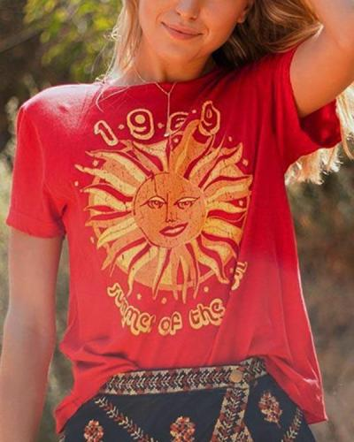 Fashion Casual Sun Printed Cotton Loose T-shirt