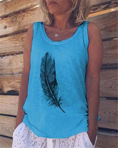 Plus Size Feather Summer Sleeveless Casual Solid Daily Basic  Vest Top