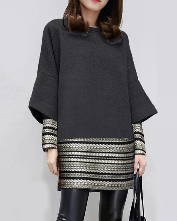 Casual Patch Print Crew Neck Long Sleeve Work Dress