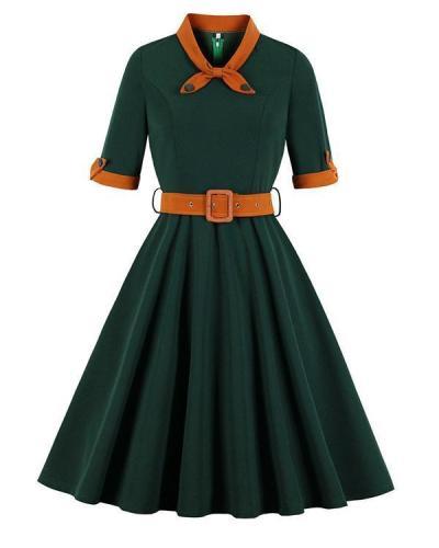 Retro O-neck Half Sleeve Swing Dress With Belt