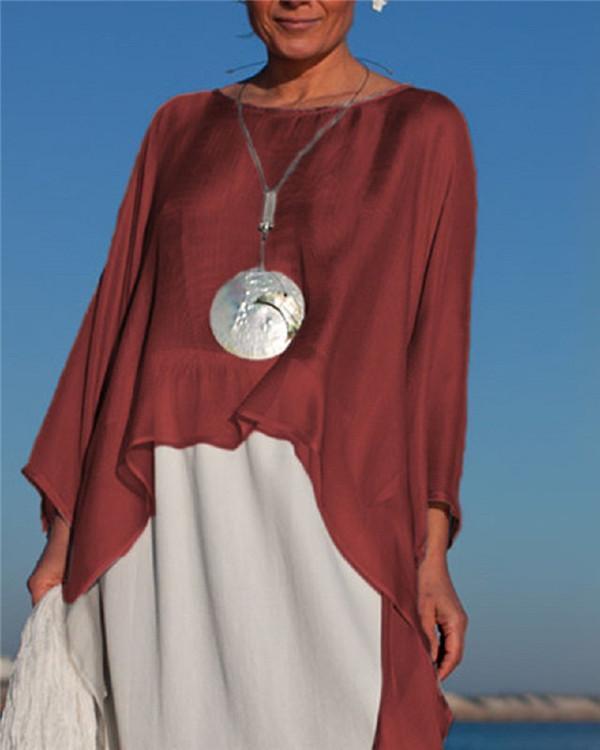 Irregular Women Summer Cold Soft Chic Silk Blouse