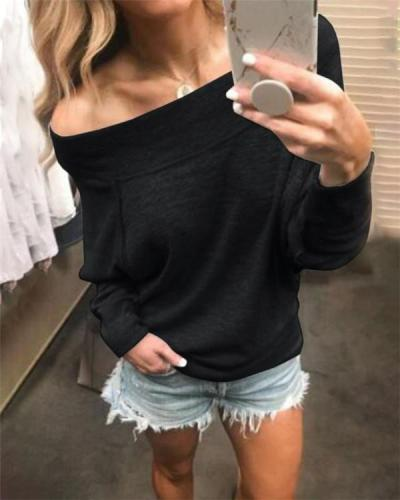 One Shoulder Sexy Solid Tops Holiday Fall Daily Casual Blouse