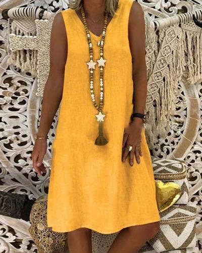 Casual Plain V-neck Sleeveless Dress