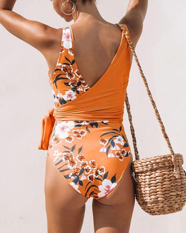Cut-out Floral Printed One Piece Swimsuit