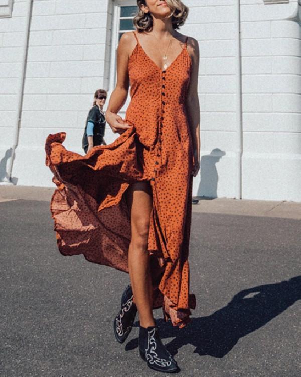 WOMEN'S POLKA DOT PRINT SWEET SLING RUFFLE DRESS