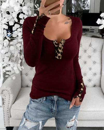 Leopard Tight-Fitting Button Open-Chest T-Shirt Top