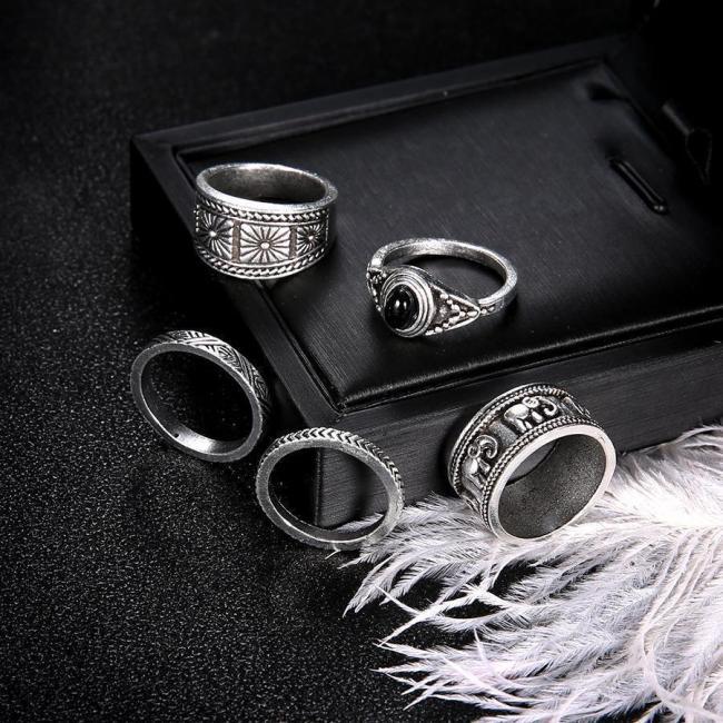 Jewelry-Bohemian Totem Black 5 Piece Ring Set