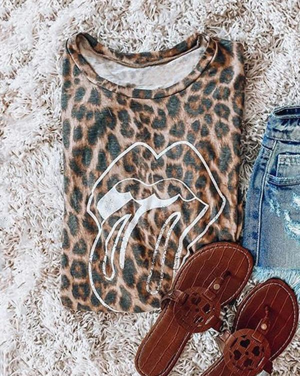 Leopard Printed Lips T-Shirt Tees
