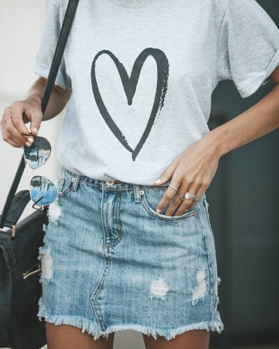 Printed Love Round Neck Short Sleeve Loose T shirt Tops