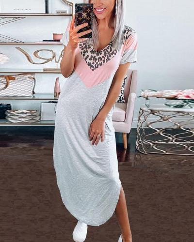 Casual Contrast Color Leopard Maxi Dresses