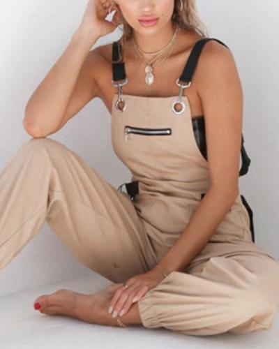Ladies Adjustable Waist Loose Casual Bib Overalls Jumpsuits