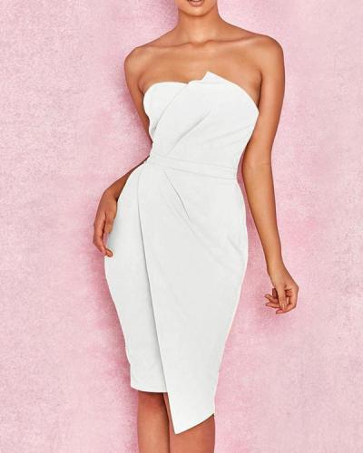 Casual Off-Shoulder Pure Colour Bodycon Dresses