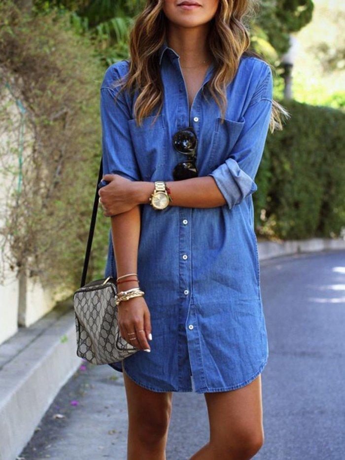 Plus Size Blue H-line Denim Long Sleeve Casual Dress
