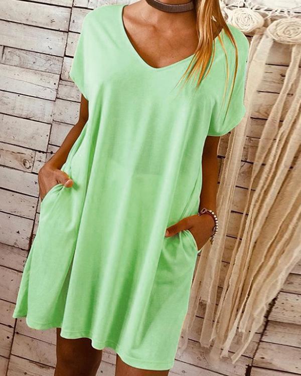 Basic Solid Tshirt V-Neckline Shift Dress