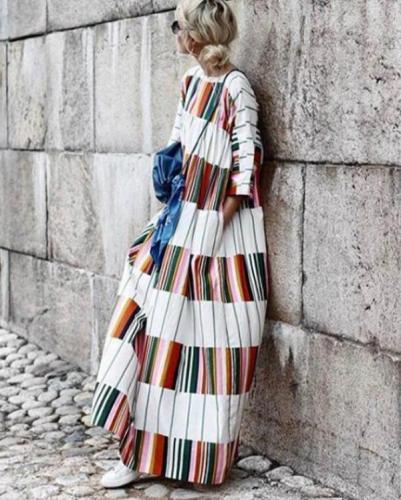 Round Neck Half Sleeve Color Block Casual Maxi Dress