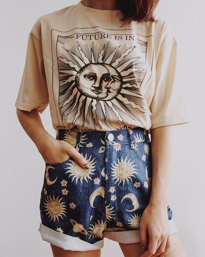 Round Neck Short Sleeve Printed Top T-Shirt