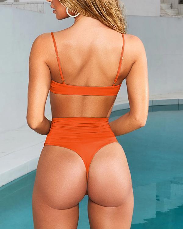 Lace Up High Waist Bikinis Sets