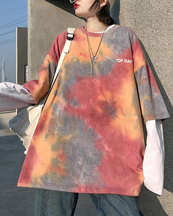 Fashion Round Neck Tie-dye Short-sleeved T-shirt